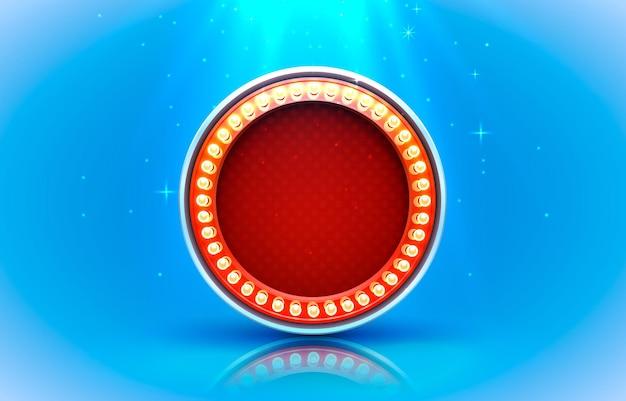 Étiquette de cadre léger, casino de barre de cercle, panneau d'affichage.