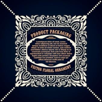 Étiquette de cadre en ornement vintage pour l'emballage