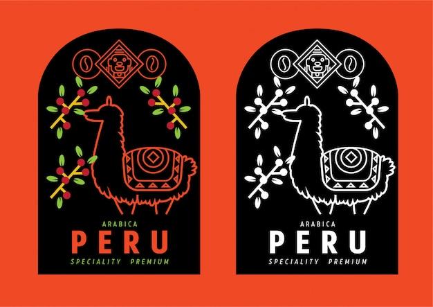 Étiquette de café du pérou avec lama