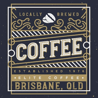 Étiquette de café élégante avec des éléments d'ornement royal. conception d'étiquettes de café. illustration de café artisanal.