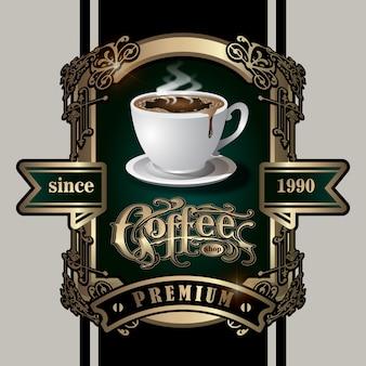Étiquette de café élégante