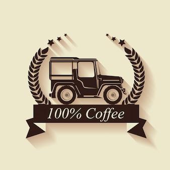 Etiquette de café originale avec transport