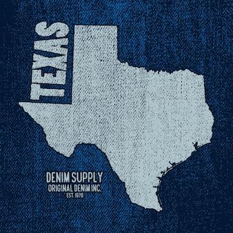Étiquette Avec Carte Du Texas. Illustration Vectorielle. Vecteur Premium