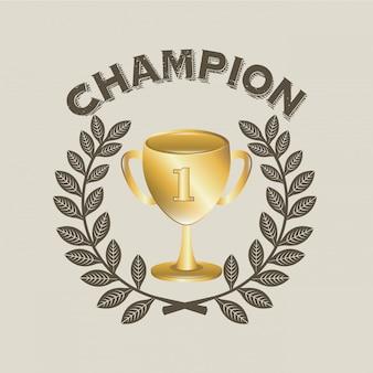 Étiquette de champion au cours de l'illustration vectorielle fond bige