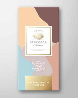 Étiquette de chocolat au cacao.