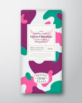 Étiquette de chocolat aux fruits du dragon formes abstraites vecteur mise en page de conception d'emballage