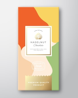 Étiquette de chocolat aux noisettes.