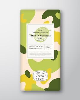 Étiquette de chocolat durian formes abstraites vecteur mise en page de conception d'emballage
