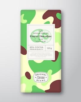 Étiquette de chocolat kiwi formes abstraites vecteur mise en page de conception d'emballage