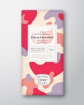 Étiquette de chocolat litchi formes abstraites vecteur mise en page de conception d'emballage