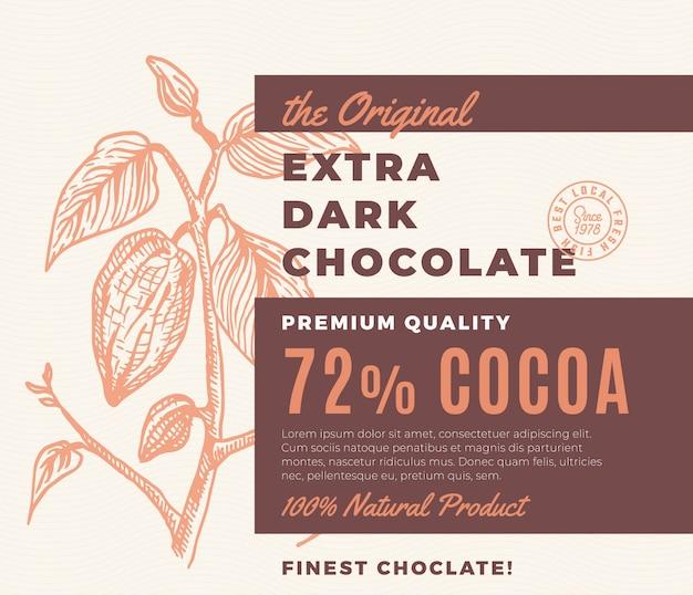 Étiquette en chocolat noir extra avec branche de cacao dessinée à la main