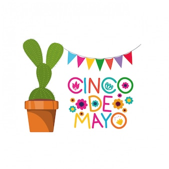 Étiquette cinco de mayo avec l'icône de cactus