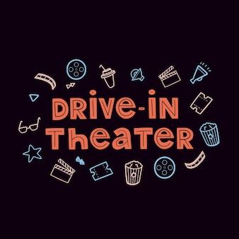 Étiquette de cinéma drivein de vecteur lettrage avec jeu d'icônes de cinéma collection de films dessinés à la main