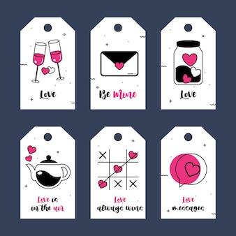 Étiquette ou collection d'étiquettes valentine hearts avec le thème de la saint-valentin