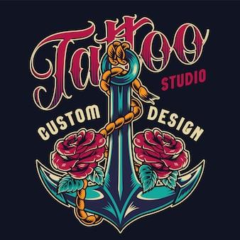 Étiquette colorée de studio de tatouage vintage