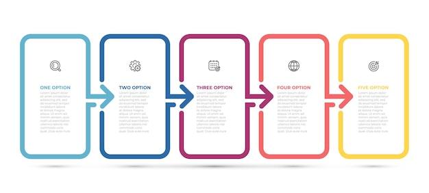 Étiquette de conception de flèche fine ligne infographie entreprise avec icônes