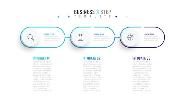 Étiquette de conception infographique minimale fine ligne avec des cercles. concept d'entreprise avec 3 options ou étapes.