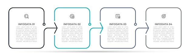 Étiquette de conception de modèle d'infographie en ligne mince avec 4 options ou étapes illustration vectorielle