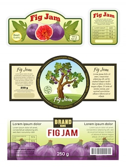 Étiquette de confiture de figues, modèle d'autocollant emblème, emballage de marmelade de fruits naturels, illustration