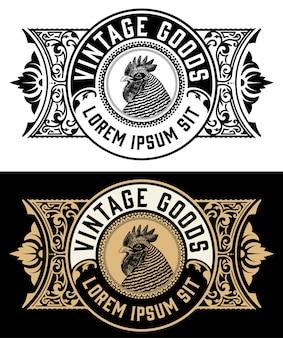Étiquette de coq de ferme biologique vintage