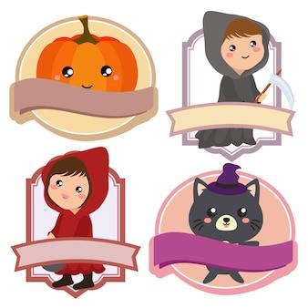 Étiquette de costume de citrouille rouge halloween