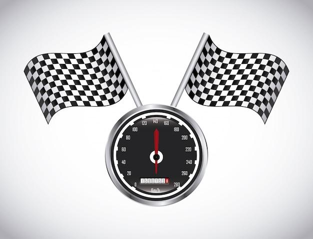 Étiquette de la course au cours de l'illustration vectorielle fond gris