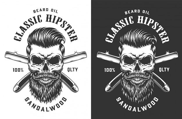 Étiquette de crâne hipster monochrome vintage