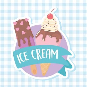 Étiquette de crème glacée