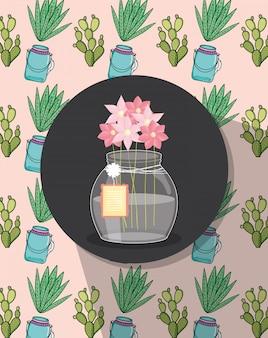 Étiquette de décoration ornement fleurs masar jar