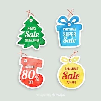 Étiquette dessinée par vente de Noël