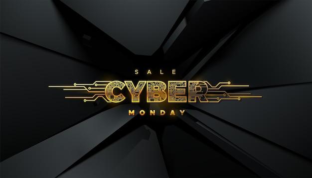 Étiquette dorée cyber monday sale avec texture de carte de circuit imprimé sur fond noir fracturé