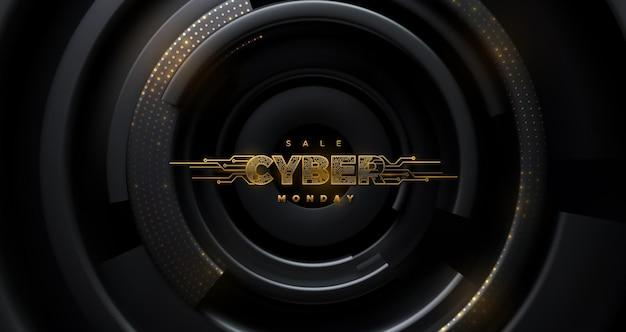 Étiquette dorée futuriste cyber monday sale avec texture de carte de circuit imprimé sur fond radial noir
