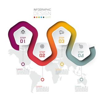 Étiquette du pentagone avec infographie liée à la ligne de couleur.