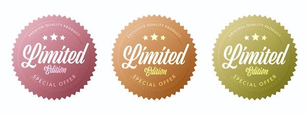 Étiquette en édition limitée pour l'insigne exclusif du produit de qualité