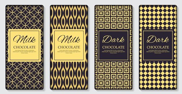 Étiquette d'emballage de la tablette de chocolat noir et lait