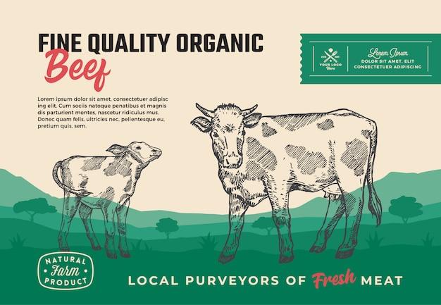 Étiquette d'emballage de viande de boeuf
