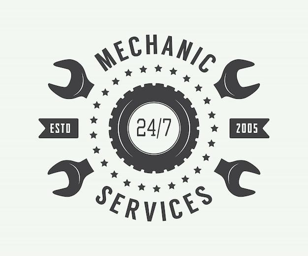 Étiquette, emblème et logo de mécanicien vintage