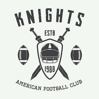 Étiquette, emblème ou logo vintage de rugby et de football américain. illustration vectorielle