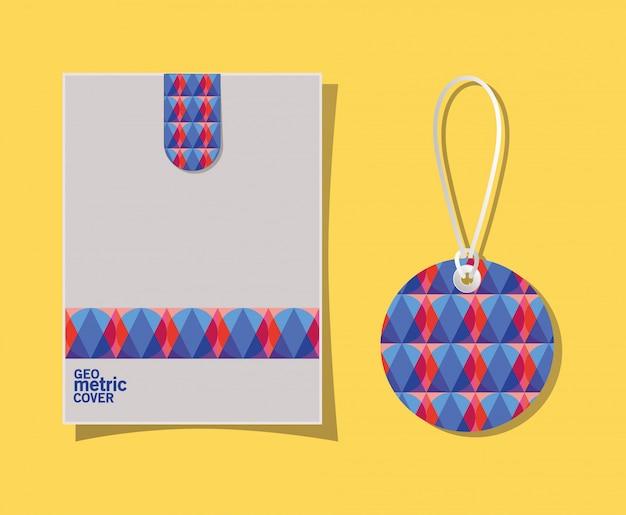 Étiquette et enveloppe de couverture géométrique