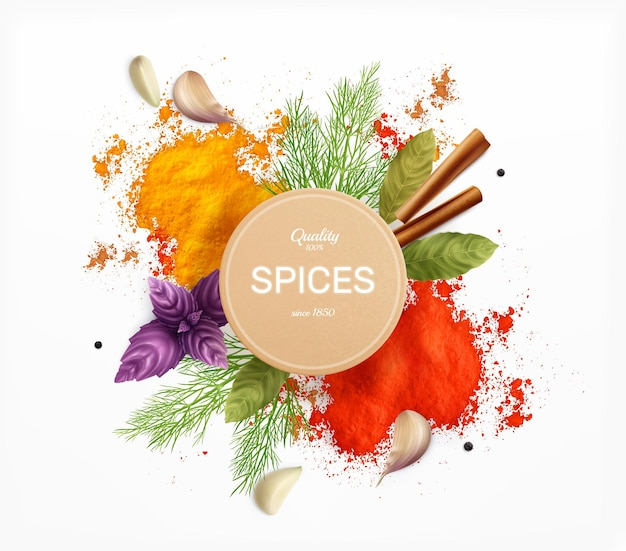 Étiquette d'épices et d'herbes décorée de feuilles de baie de basilic à l'aneth et de poudre de curry et de paprika illustration réaliste