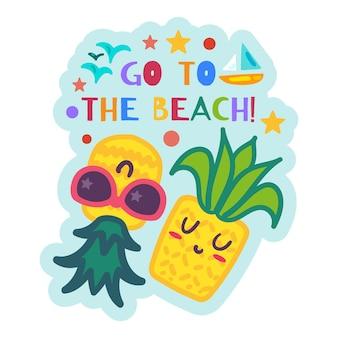 Étiquette d'été avec des ananas de dessin animé relaxants, plage summertime sticker