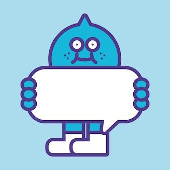 Étiquette d'étiquette monstre bleu