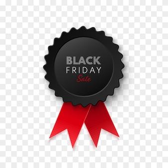 Étiquette ou étiquette de prix de vecteur de médaille de vente vendredi noir