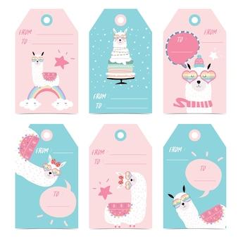Étiquette et étiquette avec tête, gâteau, étoile, lunettes de coeur et bulle