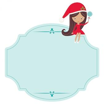 Étiquette fade de noël avec une petite fille dans un gawn de noël