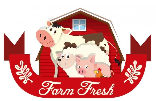 Étiquette de ferme avec des animaux de la ferme