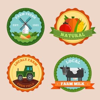 Étiquette de ferme plate et badges sertis de champs de maïs frais et naturels de la ferme locale et descriptions de lait de ferme locale