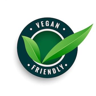 Étiquette de feuilles végétaliennes de couleur verte