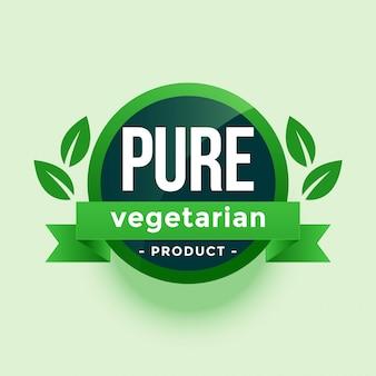 Étiquette de feuilles vertes de produit pur végétarien