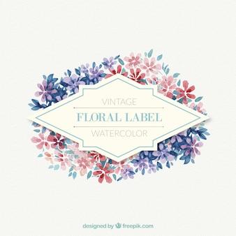 Étiquette florale composée de petites fleurs